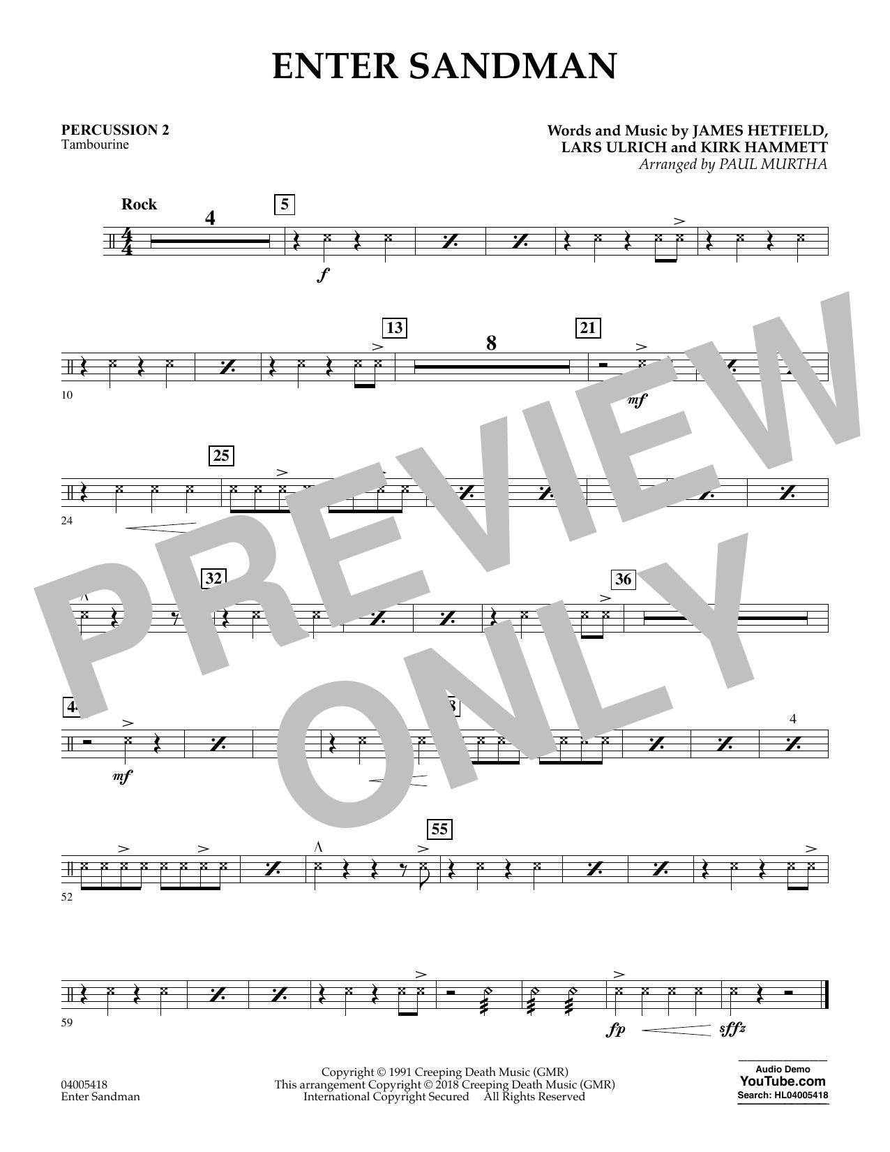 Paul Murtha Enter Sandman - Percussion 2 sheet music notes and chords. Download Printable PDF.