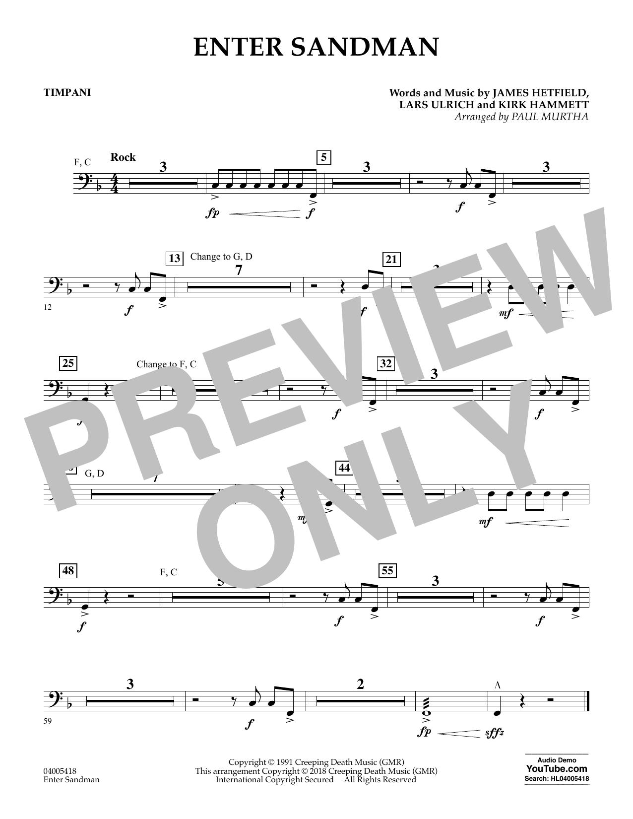 Paul Murtha Enter Sandman - Timpani sheet music notes and chords. Download Printable PDF.