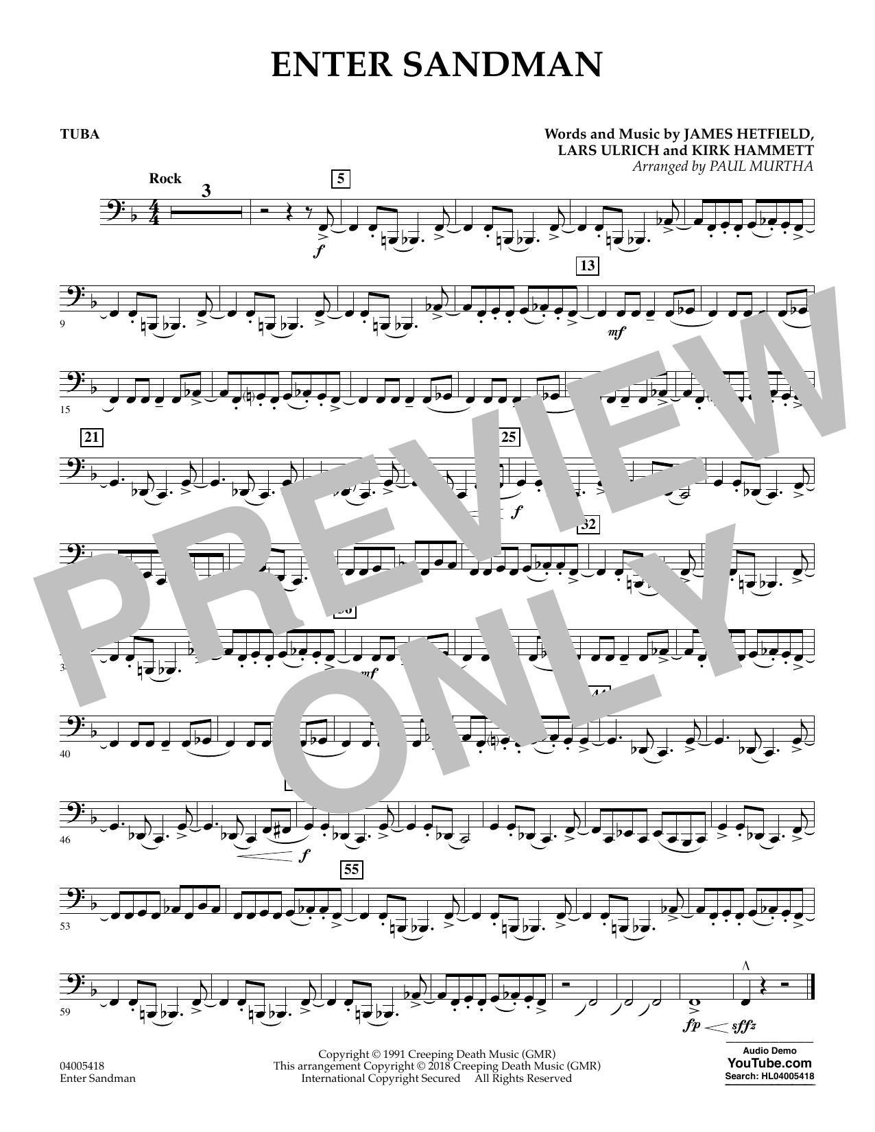 Paul Murtha Enter Sandman - Tuba sheet music notes and chords. Download Printable PDF.