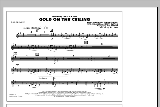 Paul Murtha Gold On The Ceiling - 3rd Bb Trumpet sheet music notes and chords. Download Printable PDF.