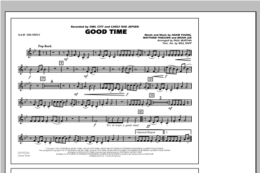Paul Murtha Good Time - 3rd Bb Trumpet sheet music notes and chords. Download Printable PDF.