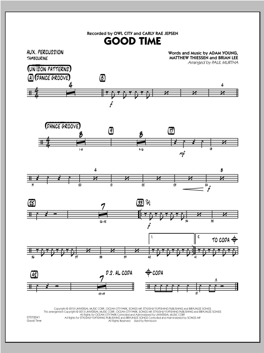 Paul Murtha Good Time - Aux Percussion sheet music notes and chords. Download Printable PDF.