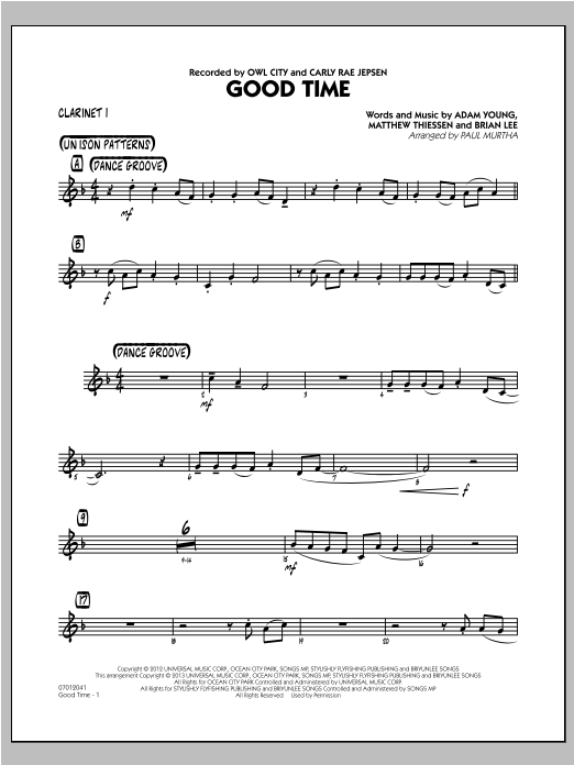 Paul Murtha Good Time - Bb Clarinet 1 sheet music notes and chords. Download Printable PDF.