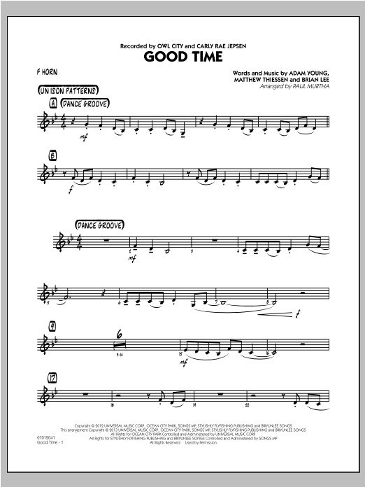 Paul Murtha Good Time - F Horn sheet music notes and chords. Download Printable PDF.