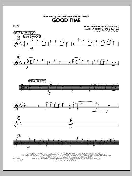 Paul Murtha Good Time - Flute sheet music notes and chords. Download Printable PDF.