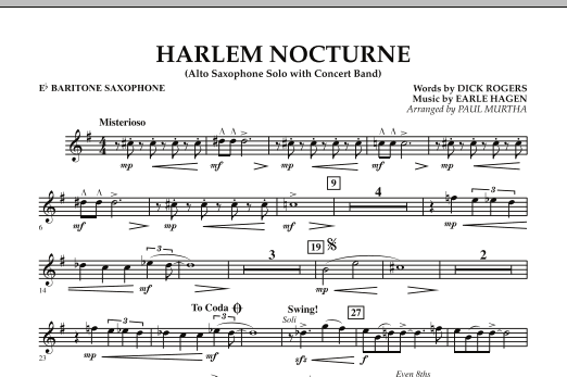 Paul Murtha Harlem Nocturne (Alto Sax Solo with Band) - Eb Baritone Saxophone sheet music notes and chords. Download Printable PDF.