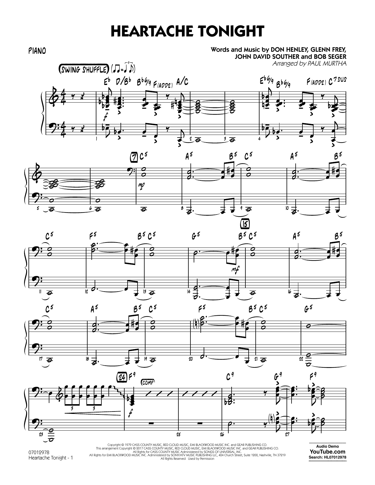 Paul Murtha Heartache Tonight - Piano sheet music notes and chords. Download Printable PDF.