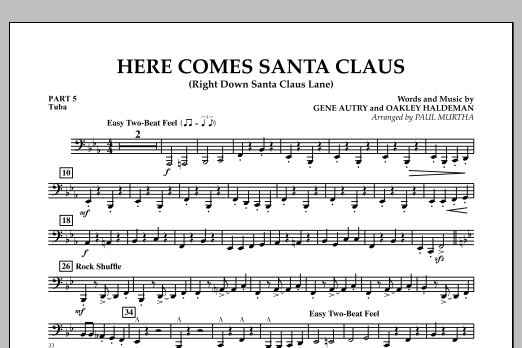 Paul Murtha Here Comes Santa Claus (Right Down Santa Claus Lane) - Pt.5 - Tuba sheet music notes and chords