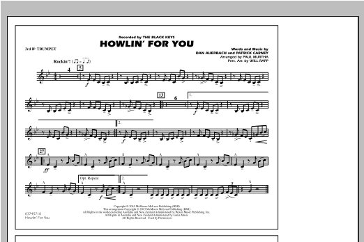 Paul Murtha Howlin' For You - 3rd Bb Trumpet sheet music notes and chords. Download Printable PDF.