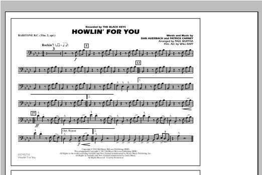 Paul Murtha Howlin' For You - Baritone B.C. (Opt. Tbn. 2) sheet music notes and chords. Download Printable PDF.