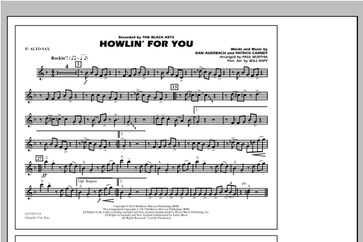 Paul Murtha Howlin' For You - Eb Alto Sax sheet music notes and chords. Download Printable PDF.