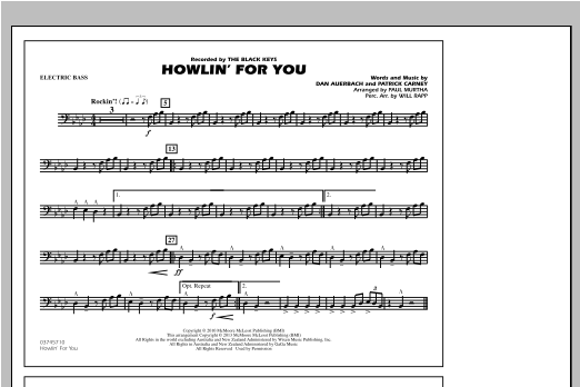 Paul Murtha Howlin' For You - Electric Bass sheet music notes and chords. Download Printable PDF.