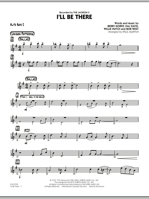 Paul Murtha I'll Be There - Alto Sax 2 sheet music notes and chords. Download Printable PDF.