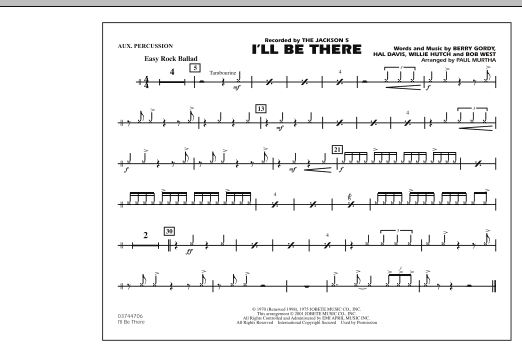 Paul Murtha I'll Be There - Aux Percussion sheet music notes and chords. Download Printable PDF.