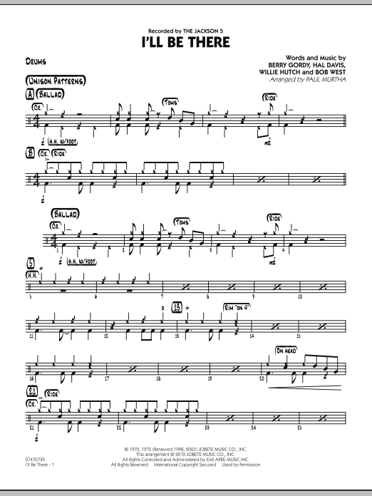 Paul Murtha I'll Be There - Drums sheet music notes and chords. Download Printable PDF.