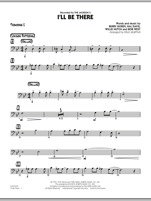 Paul Murtha I'll Be There - Trombone 2 sheet music notes and chords. Download Printable PDF.