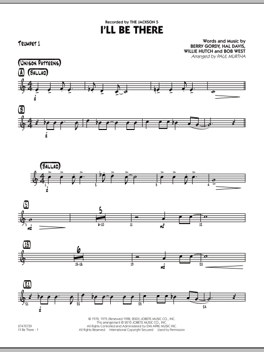 Paul Murtha I'll Be There - Trumpet 1 sheet music notes and chords. Download Printable PDF.