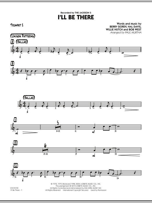 Paul Murtha I'll Be There - Trumpet 2 sheet music notes and chords. Download Printable PDF.