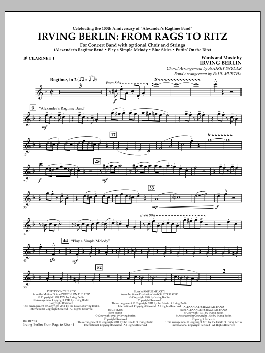 Paul Murtha Irving Berlin: From Rags To Ritz - Bb Clarinet 1 sheet music notes and chords. Download Printable PDF.