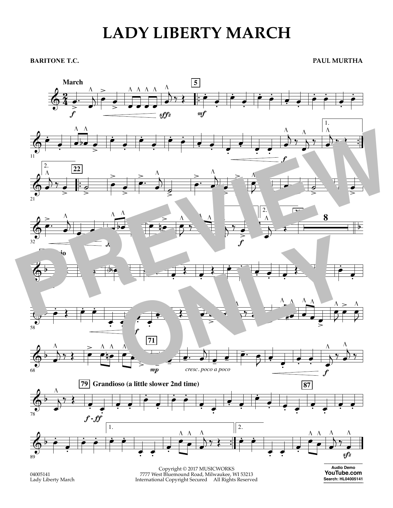 Paul Murtha Lady Liberty March - Baritone T.C. sheet music notes and chords. Download Printable PDF.