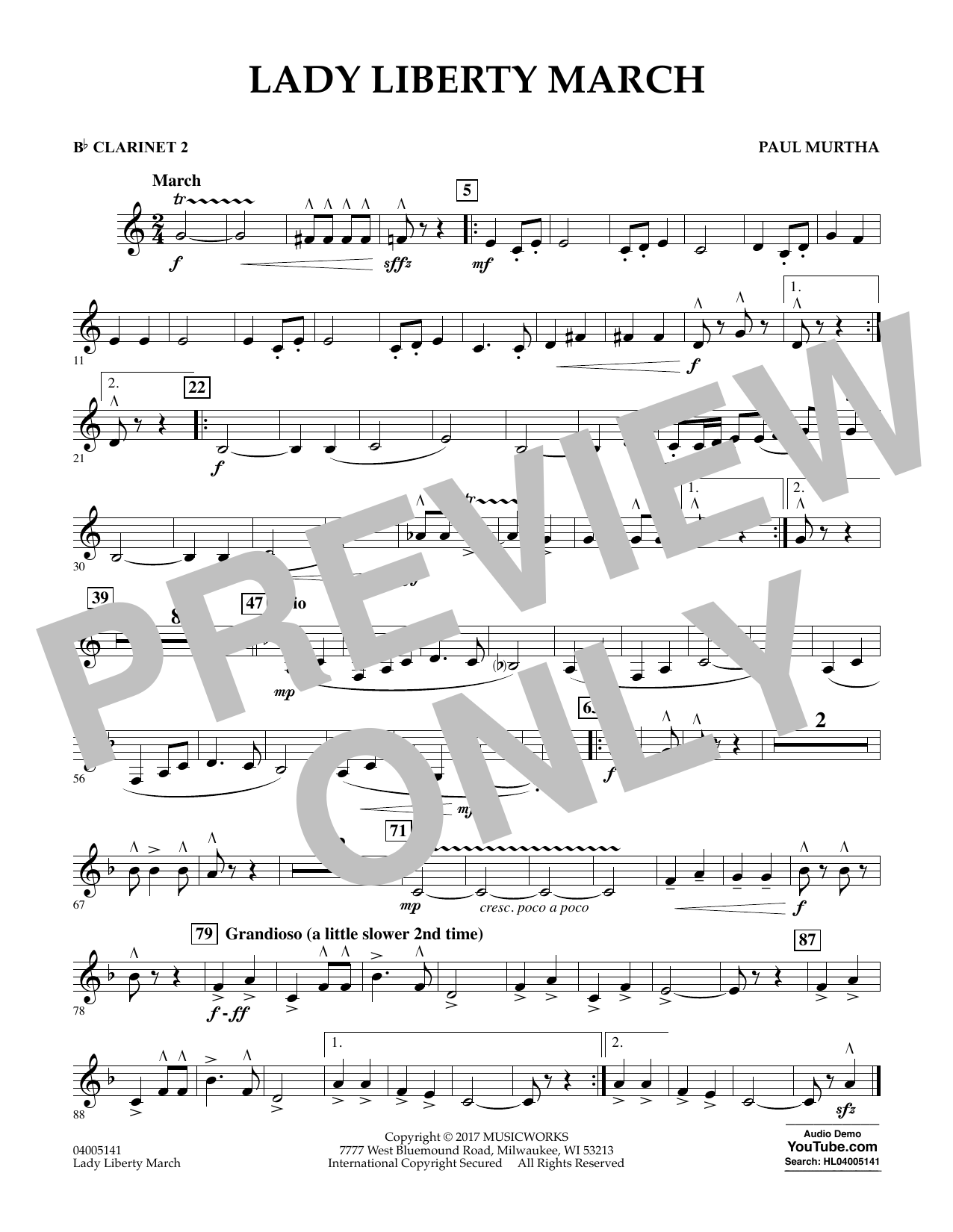 Paul Murtha Lady Liberty March - Bb Clarinet 2 sheet music notes and chords. Download Printable PDF.