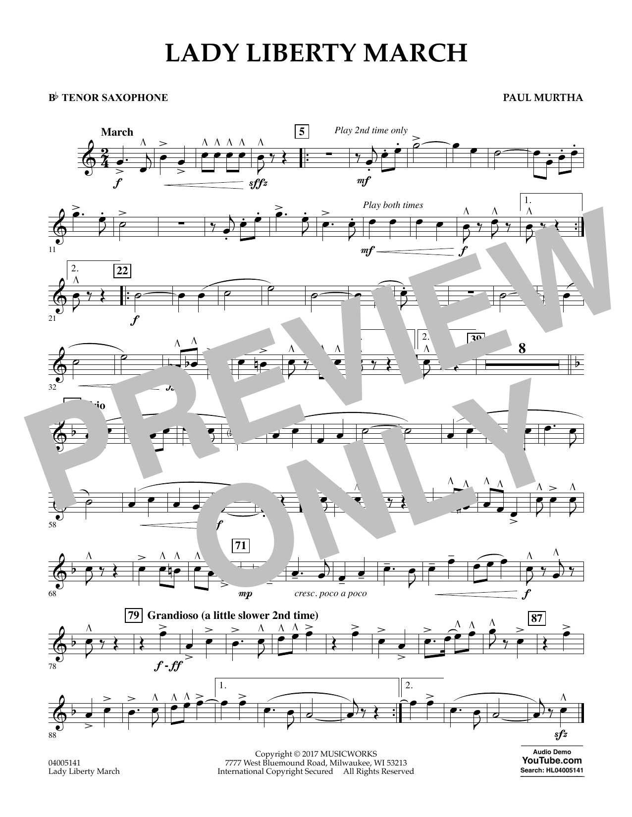 Paul Murtha Lady Liberty March - Bb Tenor Saxophone sheet music notes and chords. Download Printable PDF.