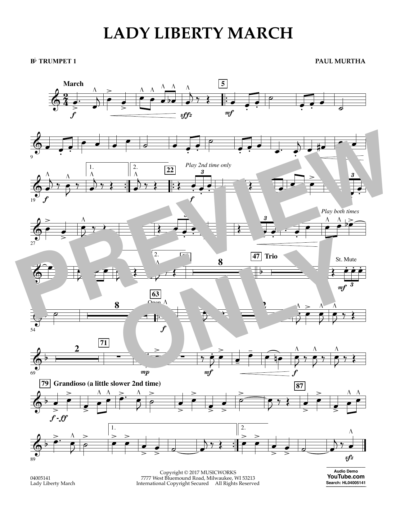 Paul Murtha Lady Liberty March - Bb Trumpet 1 sheet music notes and chords. Download Printable PDF.