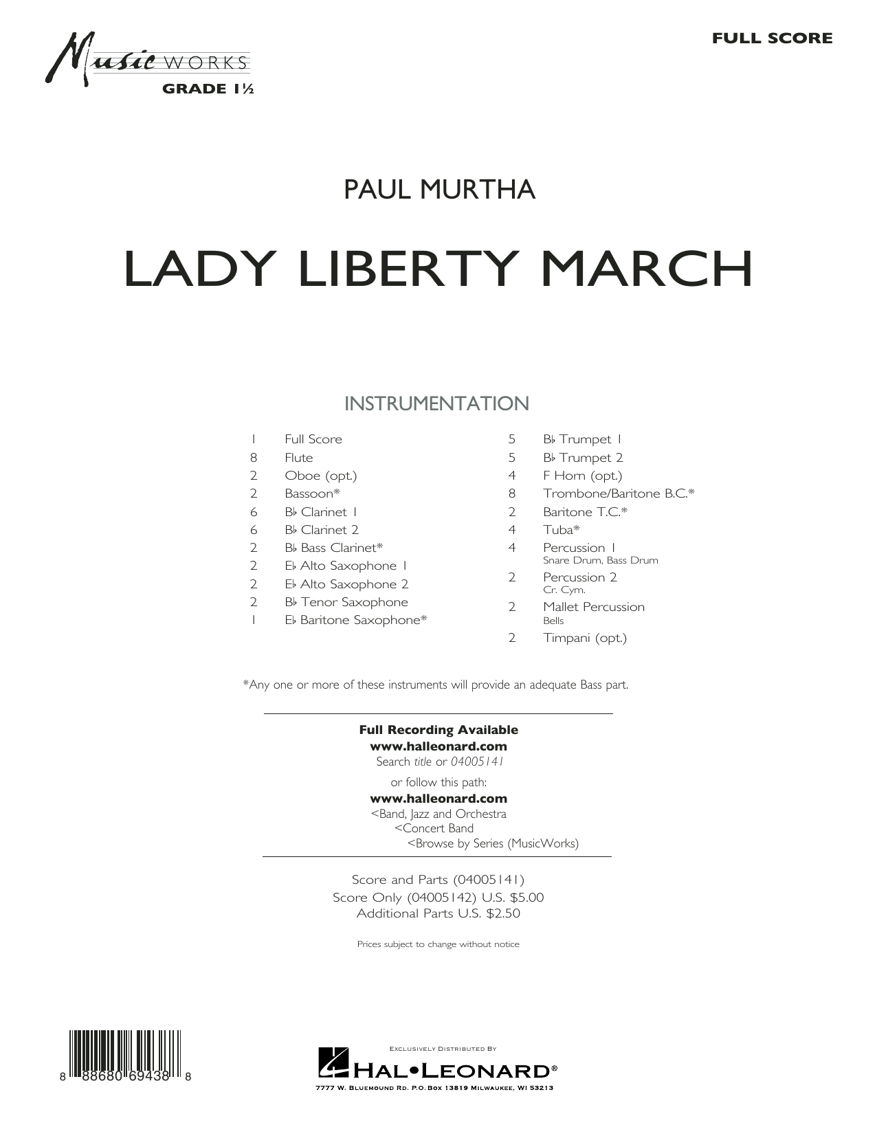 Paul Murtha Lady Liberty March - Conductor Score (Full Score) sheet music notes and chords. Download Printable PDF.