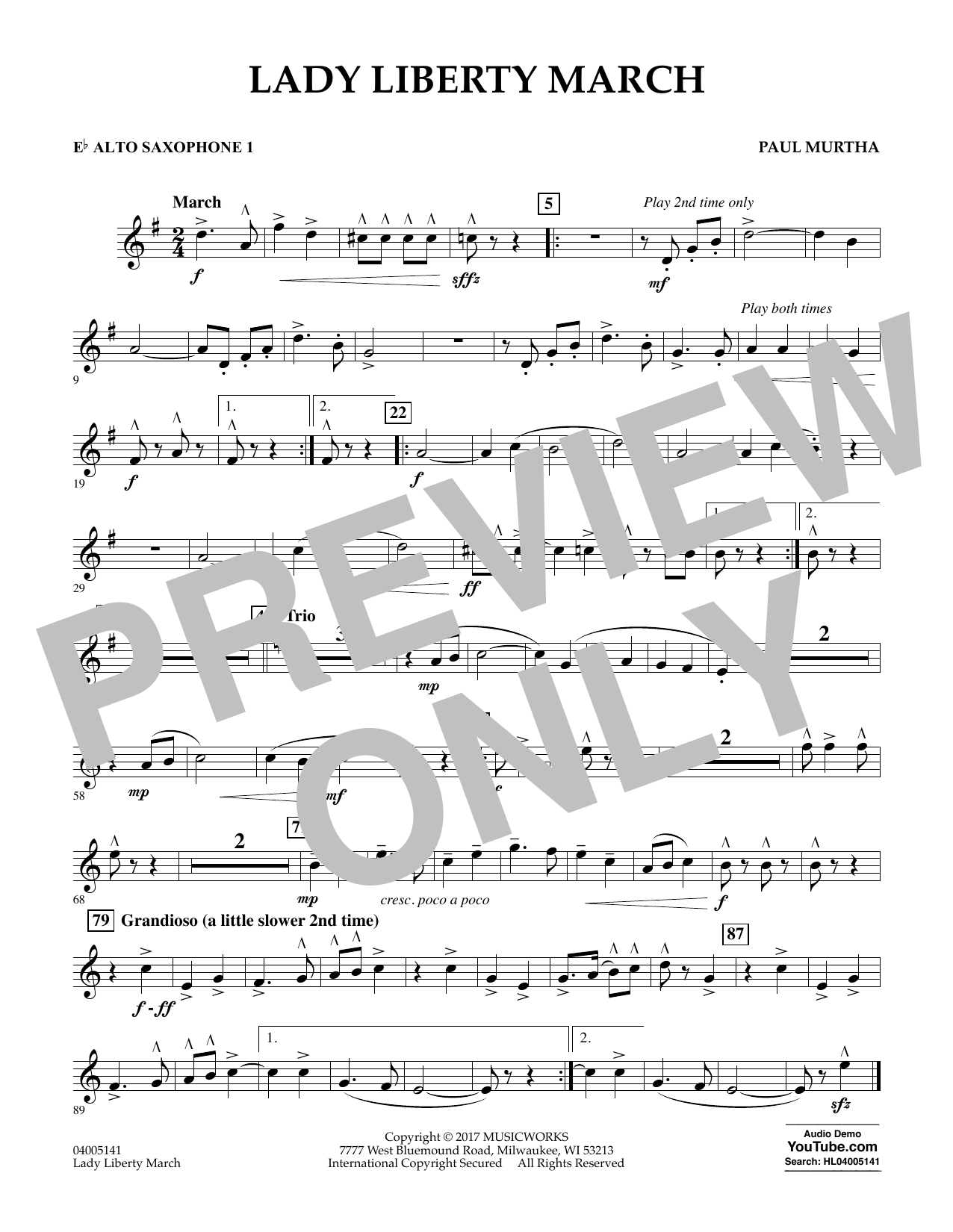 Paul Murtha Lady Liberty March - Eb Alto Saxophone 1 sheet music notes and chords. Download Printable PDF.