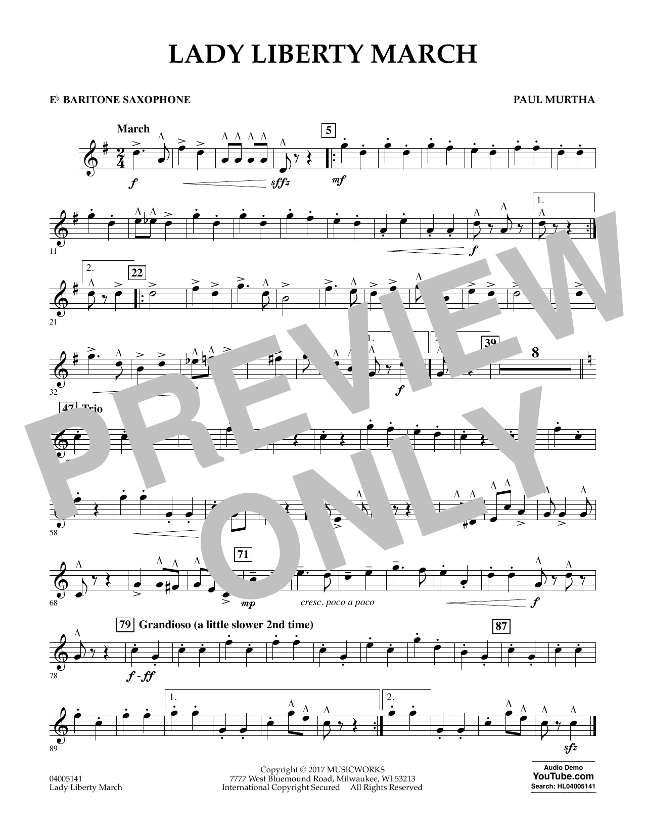 Paul Murtha Lady Liberty March - Eb Baritone Saxophone sheet music notes and chords. Download Printable PDF.