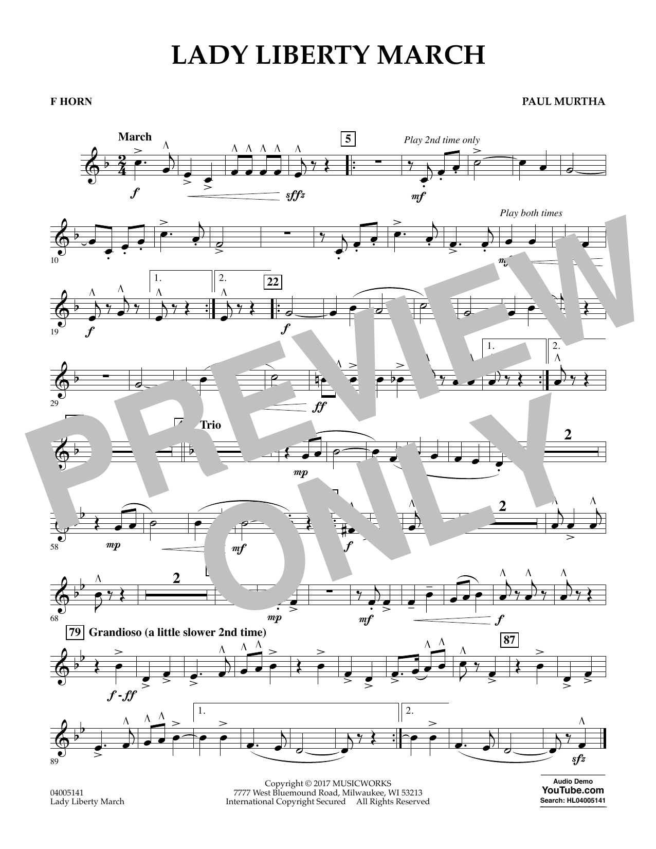 Paul Murtha Lady Liberty March - F Horn sheet music notes and chords. Download Printable PDF.
