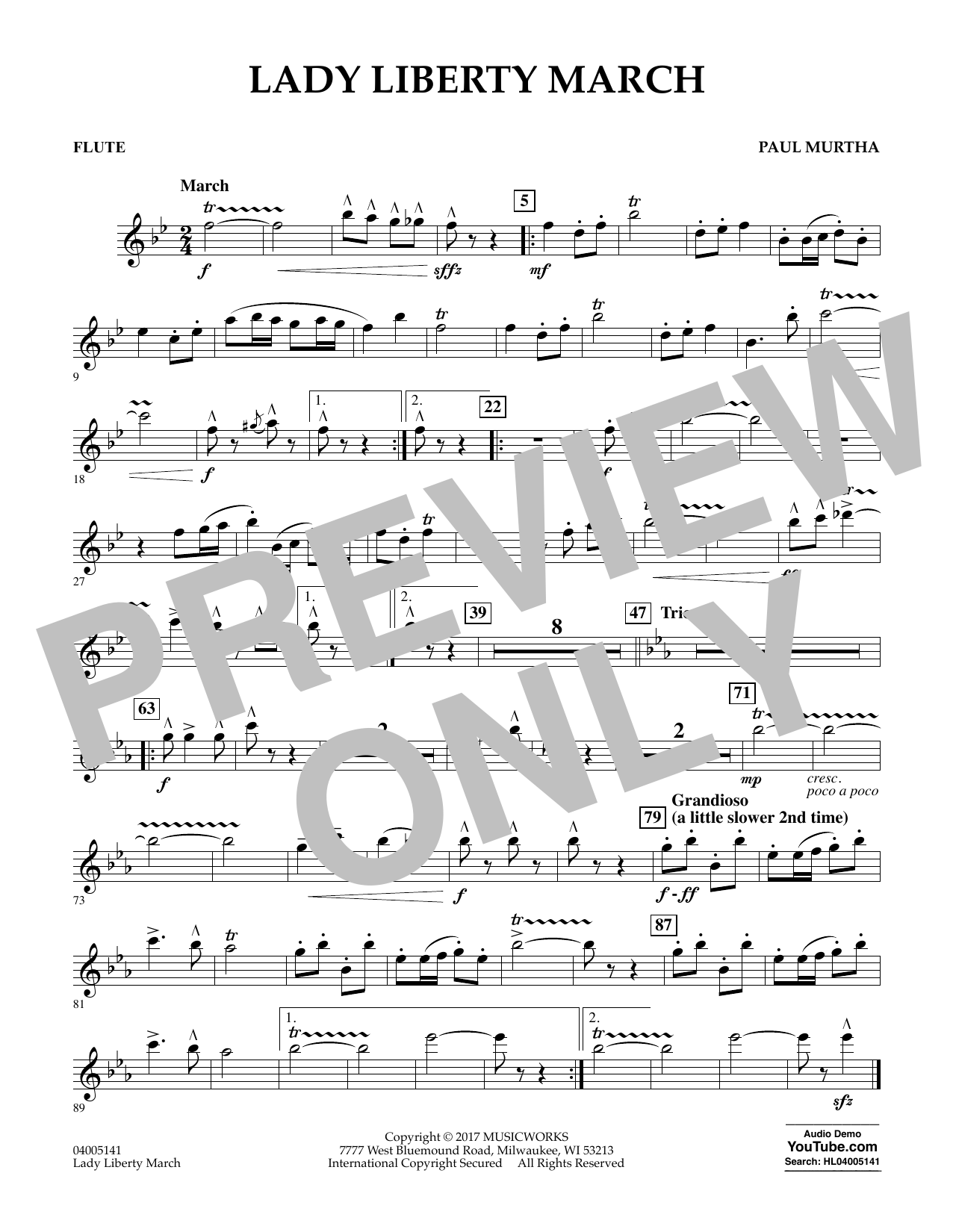 Paul Murtha Lady Liberty March - Flute sheet music notes and chords. Download Printable PDF.