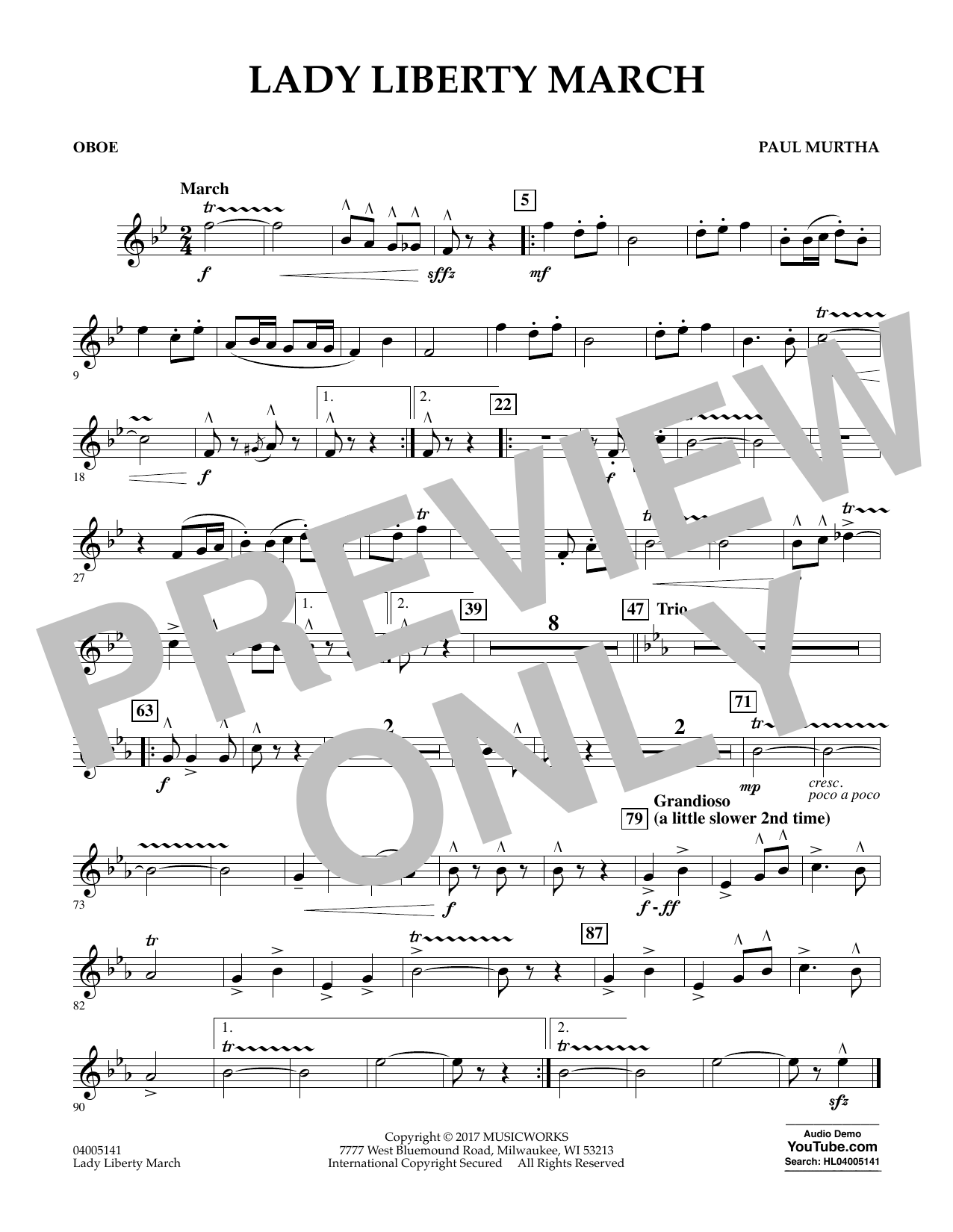 Paul Murtha Lady Liberty March - Oboe sheet music notes and chords. Download Printable PDF.