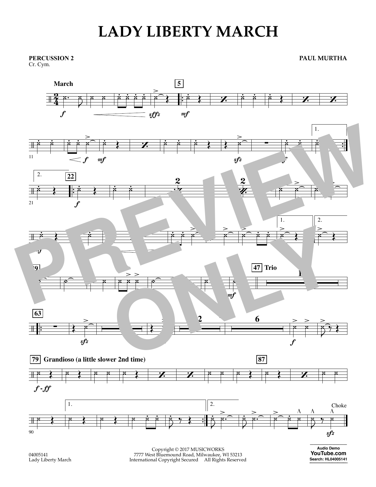 Paul Murtha Lady Liberty March - Percussion 2 sheet music notes and chords. Download Printable PDF.
