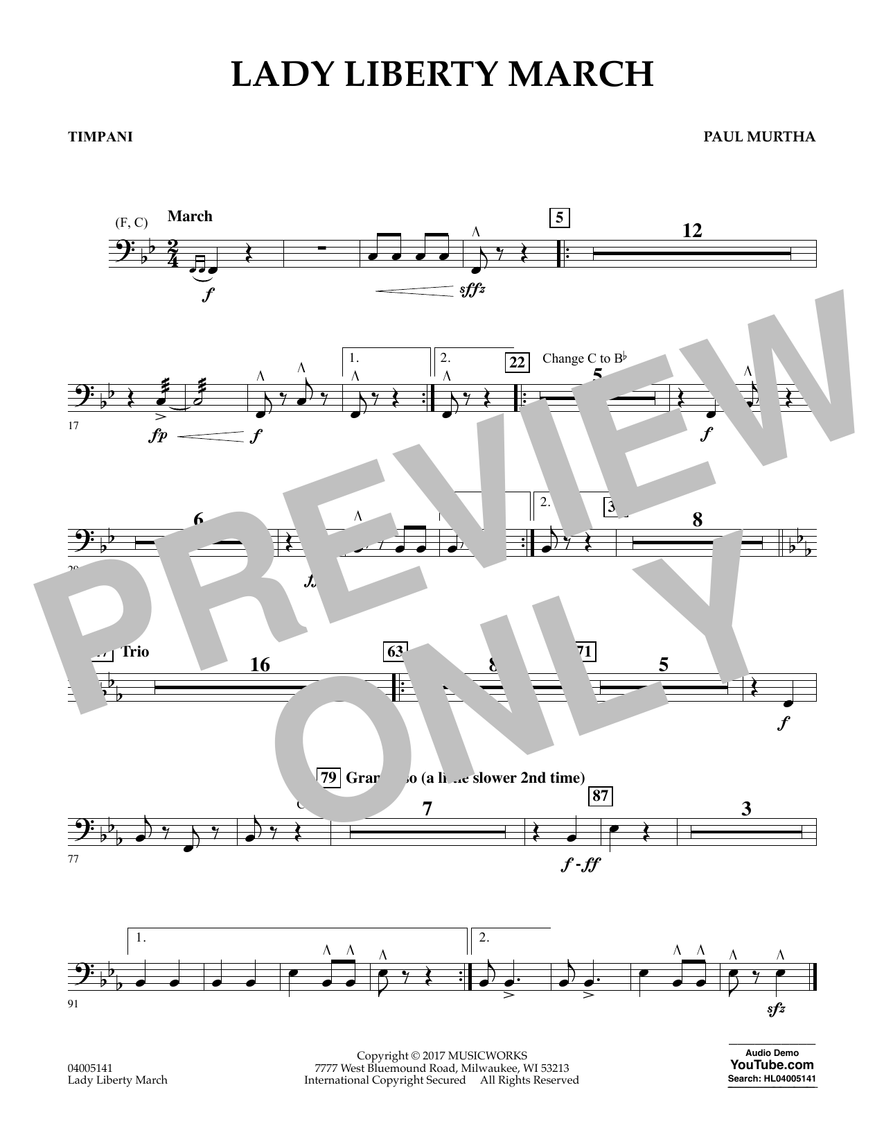 Paul Murtha Lady Liberty March - Timpani sheet music notes and chords. Download Printable PDF.