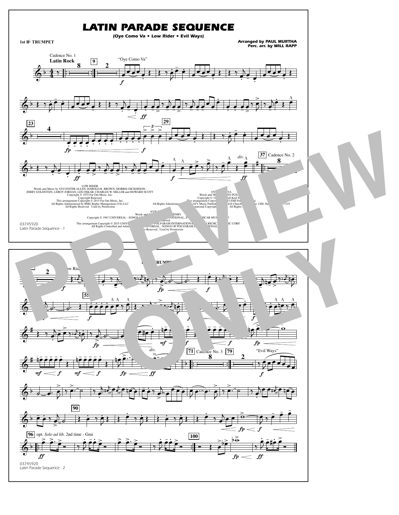 Paul Murtha Latin Parade Sequence - 1st Bb Trumpet sheet music notes and chords