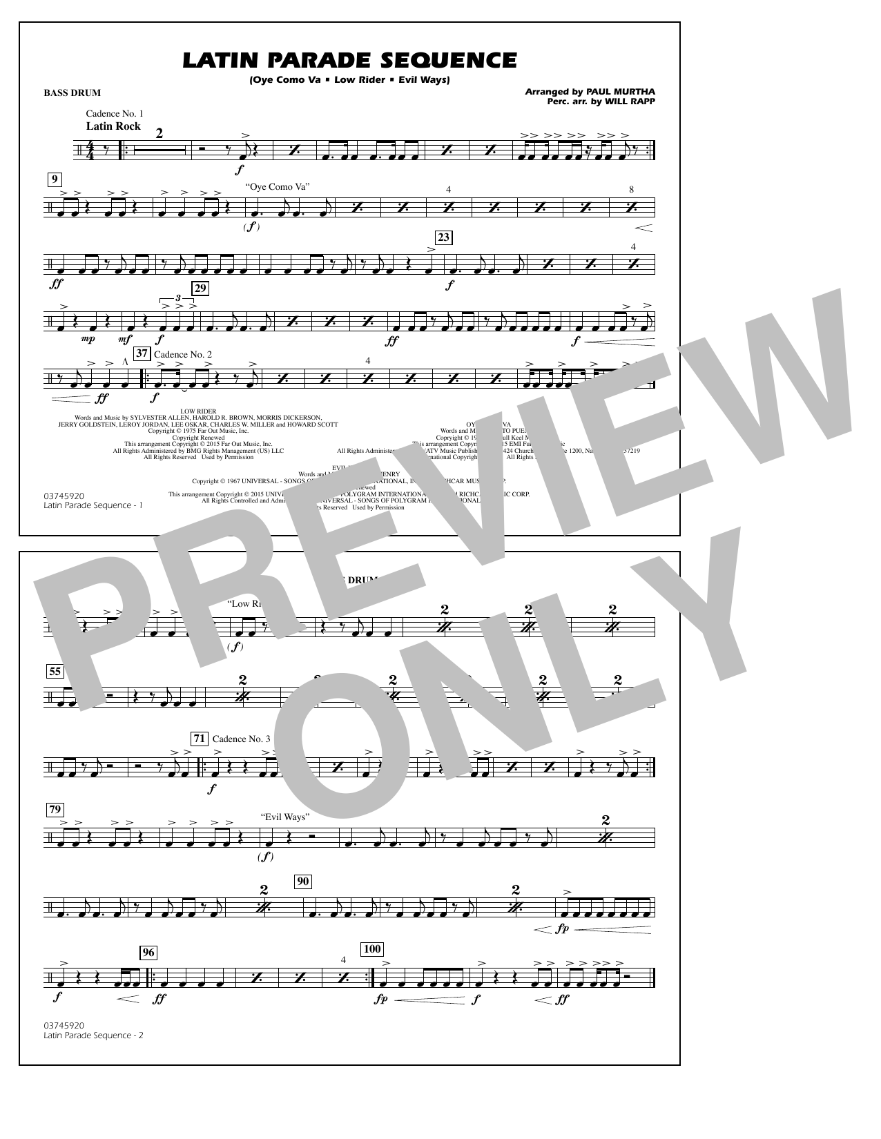 Paul Murtha Latin Parade Sequence - Bass Drum sheet music notes and chords