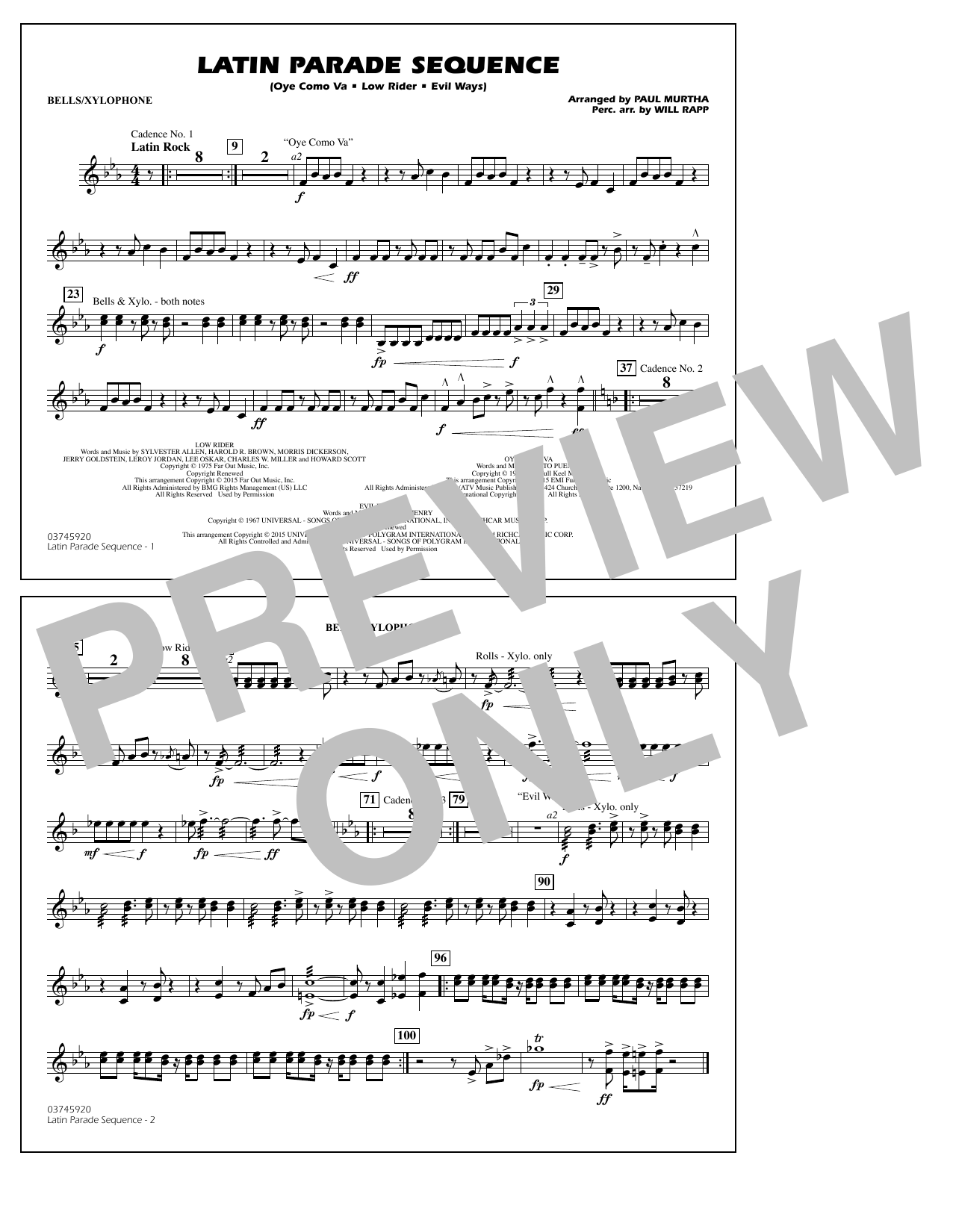 Paul Murtha Latin Parade Sequence - Bells/Xylophone sheet music notes and chords