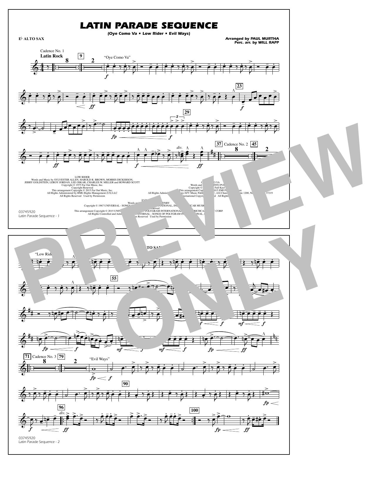 Paul Murtha Latin Parade Sequence - Eb Alto Sax sheet music notes and chords