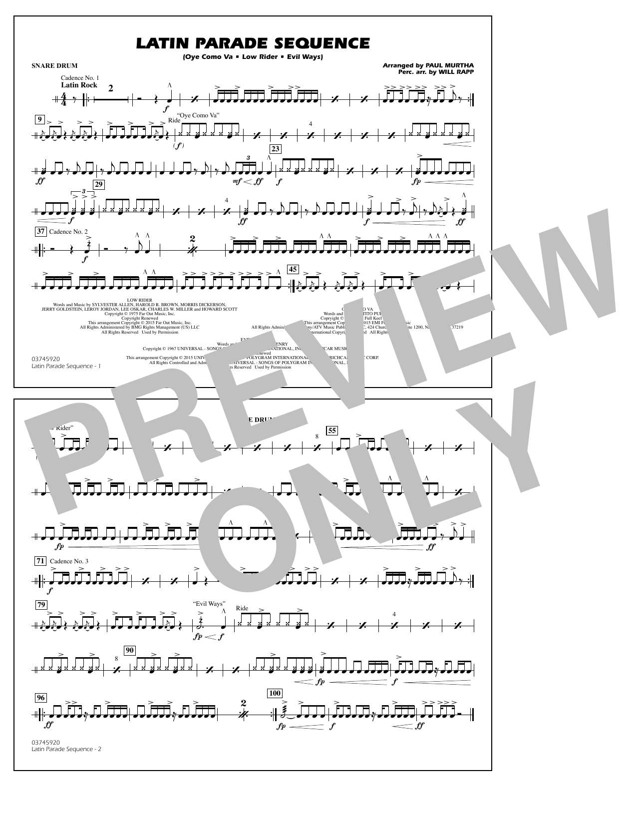 Paul Murtha Latin Parade Sequence - Snare Drum sheet music notes and chords