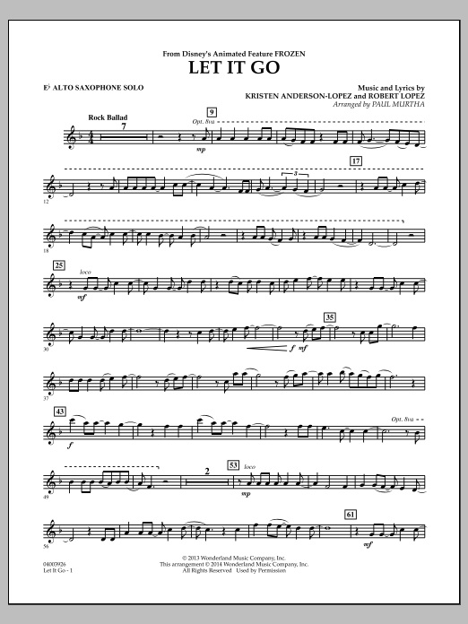 Paul Murtha Let It Go (from Frozen) - Eb Alto Saxophone Solo sheet music notes and chords. Download Printable PDF.