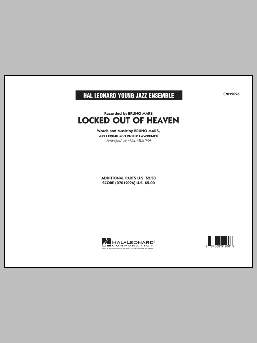 Paul Murtha Locked Out of Heaven - Conductor Score (Full Score) sheet music notes and chords. Download Printable PDF.