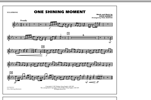 Paul Murtha One Shining Moment - Xylophone sheet music notes and chords. Download Printable PDF.