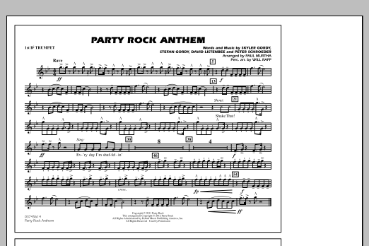 Paul Murtha Party Rock Anthem - 1st Bb Trumpet sheet music notes and chords. Download Printable PDF.