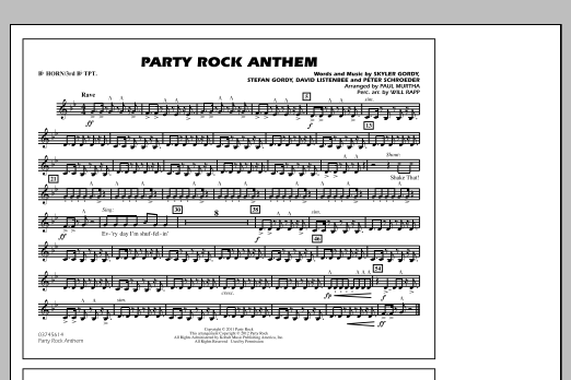 Paul Murtha Party Rock Anthem - Bb Horn/3rd Bb Tpt sheet music notes and chords. Download Printable PDF.