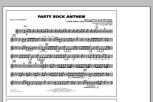Paul Murtha Party Rock Anthem - Bells/Xylophone sheet music notes and chords. Download Printable PDF.