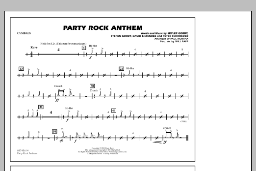 Paul Murtha Party Rock Anthem - Cymbals sheet music notes and chords. Download Printable PDF.