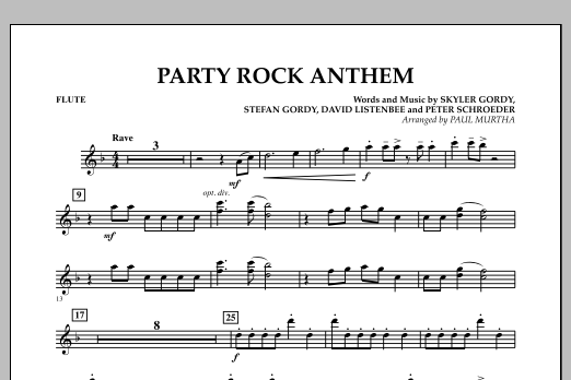 Paul Murtha Party Rock Anthem Flute Sheet Music Pdf Notes Chords Pop Score Concert Band Download Printable Sku 306770
