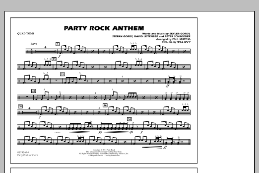 Paul Murtha Party Rock Anthem - Quad Toms sheet music notes and chords. Download Printable PDF.