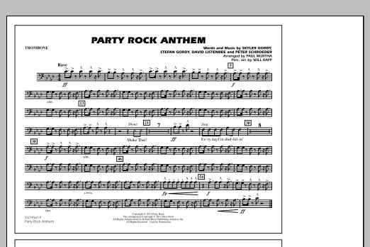 Paul Murtha Party Rock Anthem Trombone Sheet Music Pdf Notes Chords Pop Score Marching Band Download Printable Sku 305086